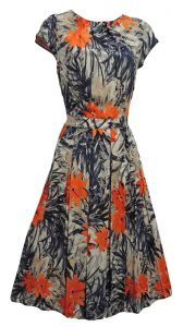 New Blue Orange Tropical WWII 1930's 40's Vtg style Swing Tea Dress